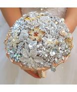 Handmade Rhinestone brooch bouquet, DIY Golden wedding bridal bride's bo... - $192.00