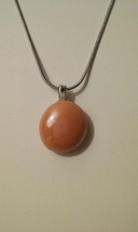 Handmade Orange Glass Round Pendant On Chain  - $5.99