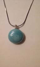 Handmade Light Blue Glass Round Pendant On Chain  - $5.99