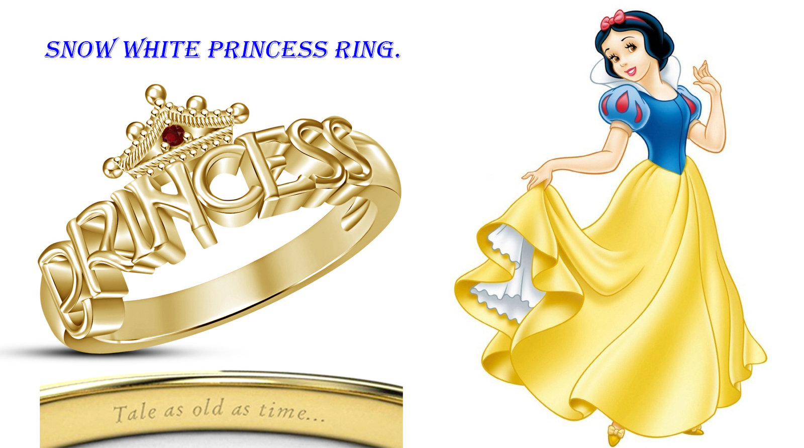 Deluxe graceful gold fn red garnet disney princess snow for Snow white wedding ring