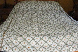 """Vintage 1970's-80's Hand Stitched/Hand Embroidered """"Bee"""" Design Comforter - $525.00"""