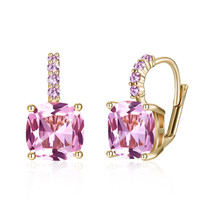Pink Acrylic Flower Purple Crystals Earring Bronze Leverback - $9.79