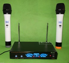 Professional 2-Channel UHF Wireless White Metal Handheld Microphone System - $67.52