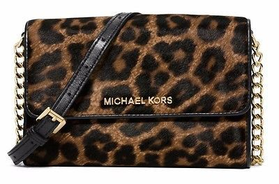 NWT MICHAEL KORS JetSet FrenchBinding Large Phone Crossbody HairCalf Cheetah Nat