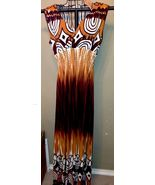 Brown Long Form flattering Plunging V neckline Print dress ~ size Small NWT - $19.52
