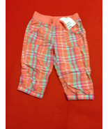 H&M Girls Pants 3 4 Pull On Ankle Plaid Orange Pink Purple String Tie Ba... - $13.99