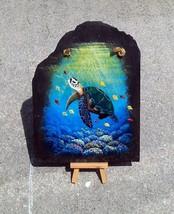 Sea Turtle slate painting with easel tortoise original nautical wall art - £42.44 GBP