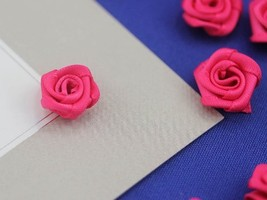 "19/32"" Pink Fabric Rose Floral Embellishments For Scrapbooking - 50 Pieces - $4.85"