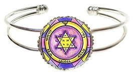 Solomons 2nd Jupiter Seal for Honor Wealth Peace Silver Cuff Bracelet - $14.95