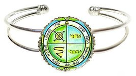 Solomons 3rd Jupiter Seal Protects Against Enemies & Evil Silver Cuff Br... - $14.95