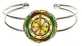 Solomons 7th Jupiter Seal for Power Against Poverty Silver Cuff Bracelet - $14.95