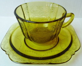 Madrid Cup and Saucer Indiana Glass 1976 Recollection - $17.26
