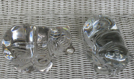 """NEW MARTINSVILLE CRYSTAL BEARS SET 2 TWO /PAIR GLASS CLEAR IRIDESCENT 6""""... - $349.99"""