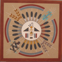 NAVAJO SAND PAINTING TOM CLAH CLARK SUN AND EAGLE SIGNED - $249.99