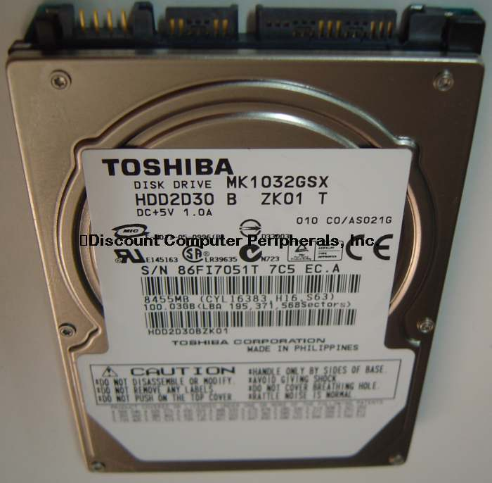 "Primary image for New 100GB 2.5"" 9.5mm SATA Drive Toshiba MK1032GSX HDD2D30 Free USA Shipping"
