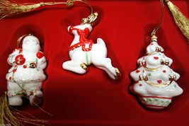 LENOX 2003 Santa Reindeer Christmas Tree Ceramic ORNAMENTS Tin Box Set of 3 - $24.99