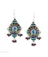 Handmade Silver Red Color Beads Peacock Drop Hook Earrings Enamel Jewelry - $52.27