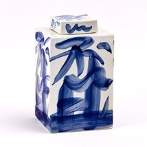 Tozai Blue Brush-Stroke Square Covered Decorative Jar - $349.95