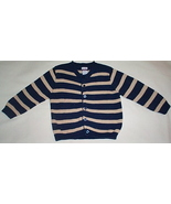 Toddler Girls Driving Force Navy Blue Tan Striped Sweater Size 4T - $5.50