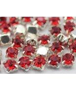 6mm SS30 Siam Lt. Sew on Diamante Rhinestone Rose Montee Beads - 25 Pieces - $4.31