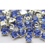 6mm SS30 Sapphire Lt. Sew on Diamante Rhinestone Rose Montee Beads - 25 ... - $4.31