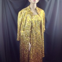 Golden Strand Brocade Evening Gown Jacket Maxi Dress Hollywood Glam Exot... - $123.75