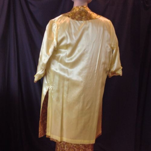 Golden Strand Brocade Evening Gown Jacket Maxi Dress Hollywood Glam Exotic M/L