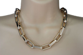 Women Gold Short Necklace Plastic Chain Square Links Fashion Jewelry lig... - $14.69