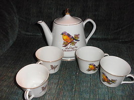 Tea pot and cups from San Diego zoo Japan zoological society birds butte... - $15.03