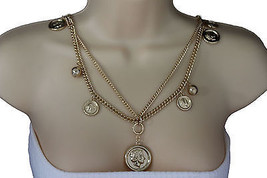 Women Gold Long Necklace Metal Chain Link Coins 2 Strands Fashion Jewelr... - $17.62