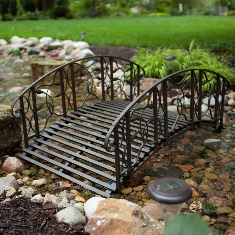 Metal garden bridge outdoor black 4 foot steel backyard for Fish pond bridges