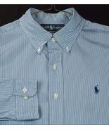 RALPH LAUREN Custom Fit Blue White Stripe Dress Shirt Men Button Dn 16 3... - $22.98
