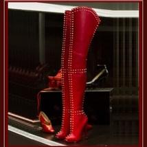 Italian Thigh High Soft Leather Panel Rivets Spike Stiletto Heel Platform Boots image 2