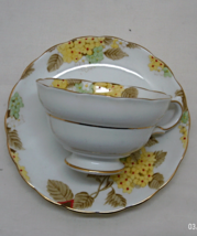 Vintage Copelands Grosvenor Fine China Tea Cup with Saucer // Yellow Flo... - $14.00