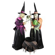 72 in. Wicked Cauldron Witches Features Moving Mouths LED Eyes Halloween... - €203,14 EUR