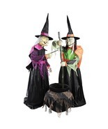 72 in. Wicked Cauldron Witches Features Moving Mouths LED Eyes Halloween... - €204,74 EUR