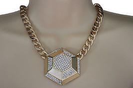 Women Gold Necklace Metal Chain Link Big Geometric Botton Charm Fashion ... - $17.62