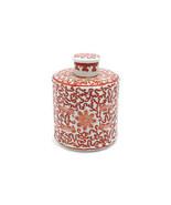 "Round Orange Coral and White Porcelain Tea Caddy Jar Box Twisted Lotus 6"" - $54.44"