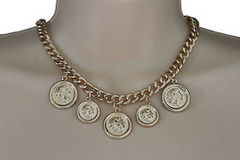 Women Gold Necklace Metal Chain Multi Lady Coins Charms Pendant Fashion ... - $14.69