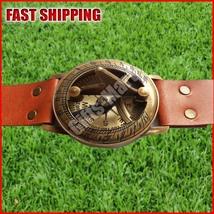 Vintage style Marine Nautical Brass Sundial compass Wrist Watch Type - W... - $19.45