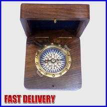 ANTIQUE BRASS NAUTICAL COMPASS AND WATCH WITH WOODEN BOX OR BRASS GIFT - $27.99