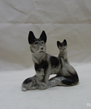 Vintage Porcelain Wolf With Pups Figurine // Made in Japan - $10.00