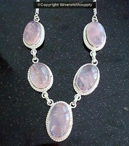 Large Rose Quartz linked necklace sterling silver plated handmade jewelr... - $16.96