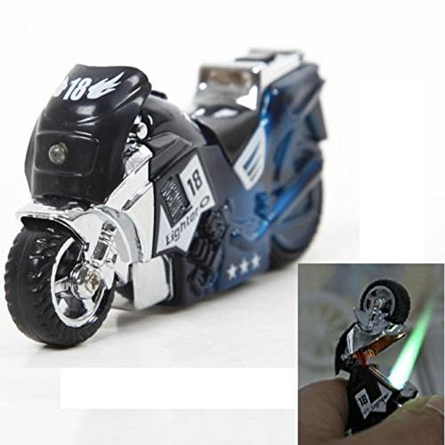 Flameless Lighter Windproof Smoking Motorcycle Style Lighter w/Light - One Li...