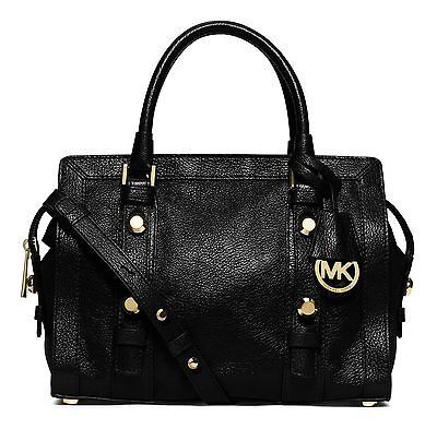 NWT MICHAEL MICHAEL KORS Collins Stud Medium Leather Satchel Black MSRP $398
