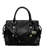 NWT MICHAEL MICHAEL KORS Collins Stud Medium Leather Satchel Black MSRP ... - $322.05