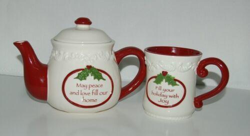 Bella Casa by Ganz Christmas Teapot mug Set White Dark Red