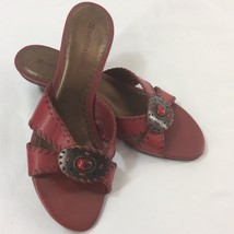 New Naturalizer Red Leather Strapless Mules Size 6N Made In Brazil Padded Bed - $26.86