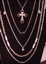lot of SARAH COVentry Necklaces Cross chains hearts (5) - $39.95