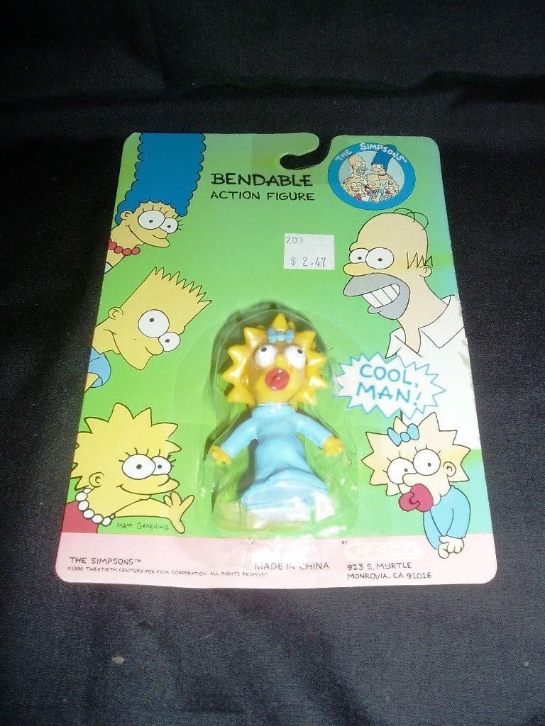 """Original 1990 Maggie Simpson 2 1/2"""" PVC Bendable Action Figure! Mint On Card!"""